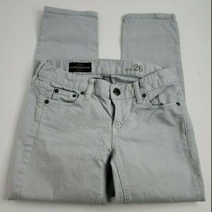 J. Crew Gray Cropped Matchstick In Garment Jeans